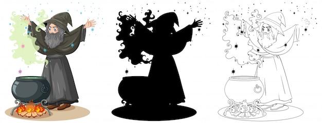 Hexe mit schwarzem magischem topf in farbe und umriss und schattenbildkarikaturcharakter lokalisiert auf weißem hintergrund