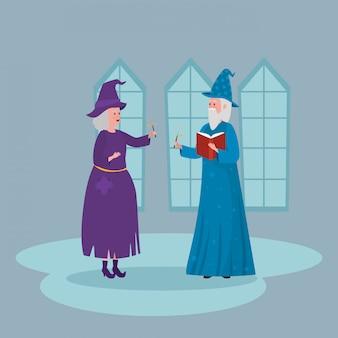 Hexe mit zauberer im schloss