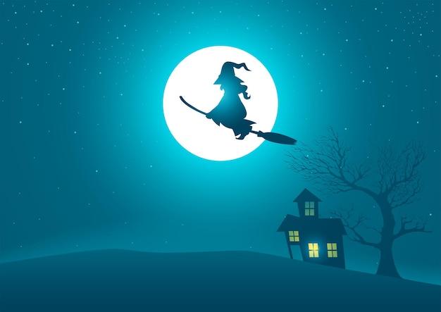 Hexe reitet auf einem besenstiel, der auf einem gruseligen haus und einem baum mit vollmond als hintergrund fliegt