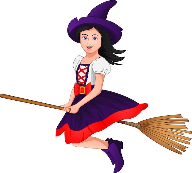 Hexe reitet einen besen
