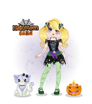 Hexe süße puppensammlung halloween und süßes katzenmaskottchen