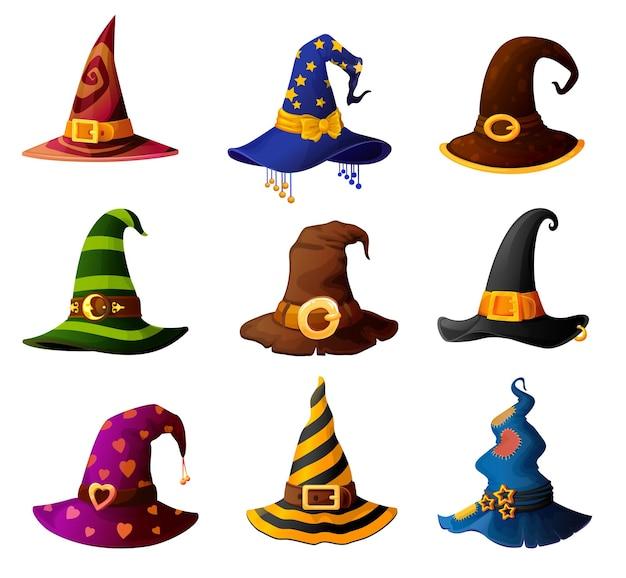 Hexe, zauberer, zauberer oder hexenmeister halloween-hüte