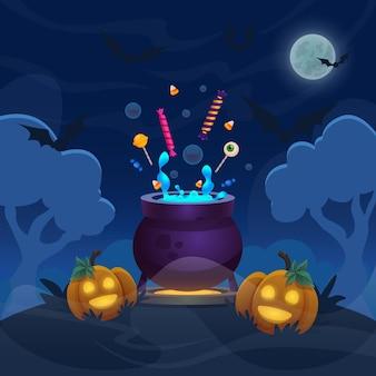 Hexe zaubertopf auf hügelwald cartoon halloween illustration mit kürbisse banner vollmondnacht
