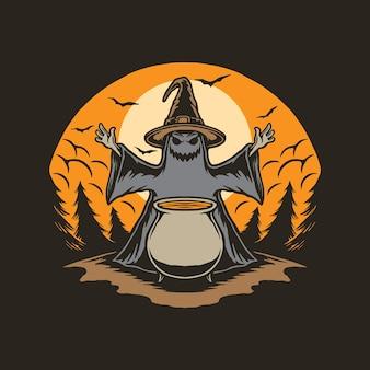 Hexen führen am halloween-tag rituale durch
