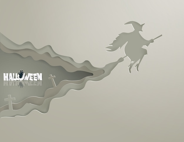 Hexen reiten besen auf dem grauen himmel halloween-konzept
