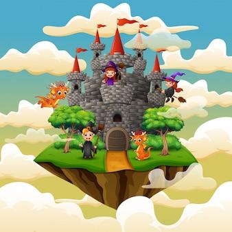 Hexen und drachen flogen auf den wolken um das schloss herum