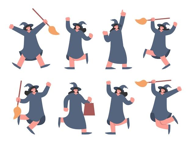Hexencharakter-cartoon-sammlung mit hut und besen. illustration über niedlichen charakter für das halloween-thema und gruseliges konzept.