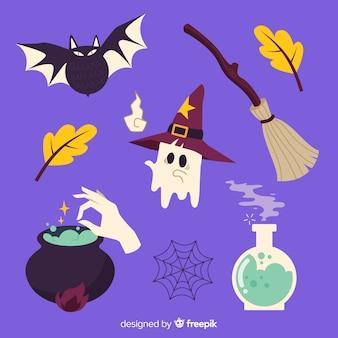 Hexendekoration für halloween-sammlung