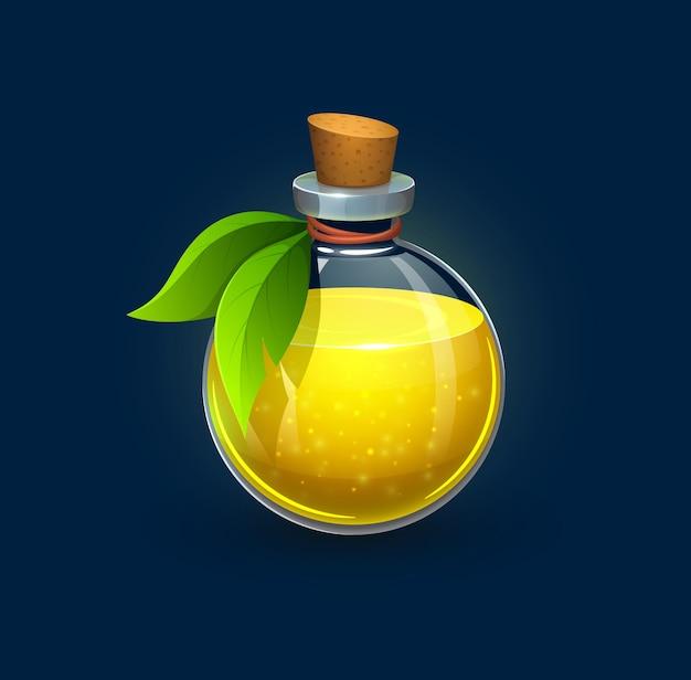 Hexenglasflasche mit grünen blättern, kork und gelbem trank, cartoon-vektor. zaubertrank aus hexe oder giftgetränk im glas, alchemieelixier und zauberalchemistflüssigkeit in kristallglasflasche