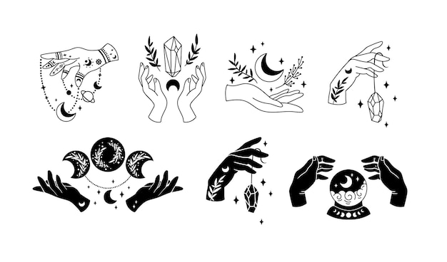 Hexenhände und mystische boho-mond-cliparts himmlischer hexenhalbmond und blumen
