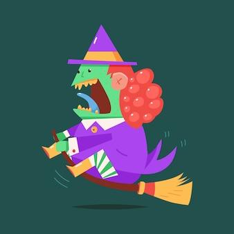 Hexenkarikatur-halloween-charakter lokalisiert auf hintergrund.