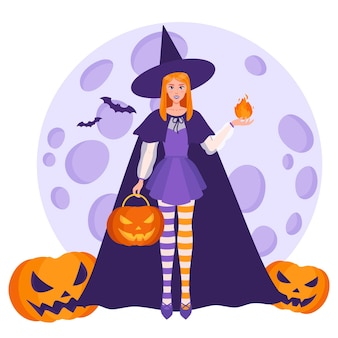 Hexenmädchen mit einem feuerball in der hand und halloween-orangenkürbissen auf dem hintergrund eines vollmonds und fledermäuse.