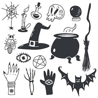 Hexensymbole für halloween. magische karikaturikonen eingestellt lokalisiert auf weiß.