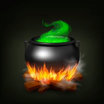 Hexentopf auf feuerholz mit grünem trank und dampf auf realistischer illustration des schwarzen hintergrundes