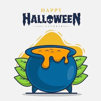 Hexentrank mit glücklicher halloween-feierikonenillustration