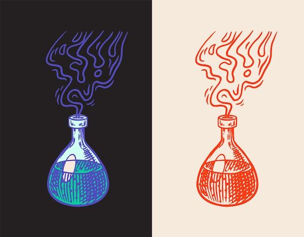 Hexentrank mystisches alchemiegetränk in einer flasche astrologiesymbol magie boho illustration hand gezeichnet