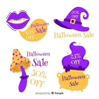 Hexenzubehör mit halloween-aufkleberverkäufen