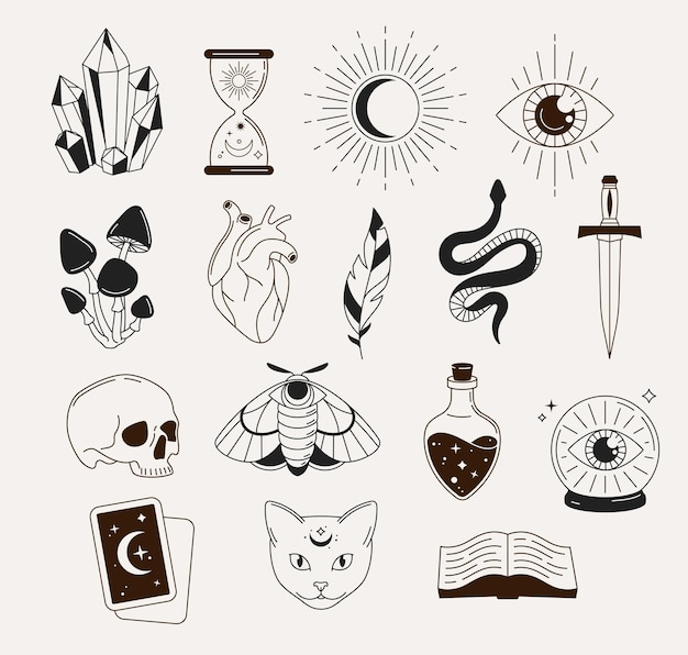 Hexerei, mystische, astrologische, esoterische, magische objekte, symbole, elemente und symbole