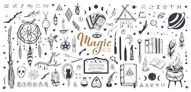 Hexerei und magische weinlese-sammlung mit isolierter wicca-illustration