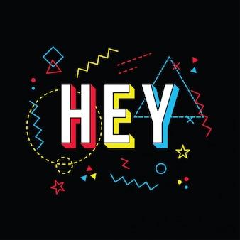 Hey, hallo grüße im 80er farbstil