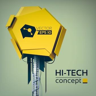 Hi-tech-designkonzept mit gelbem 3d-objekt auf metallkonstruktion im futuristischen stil