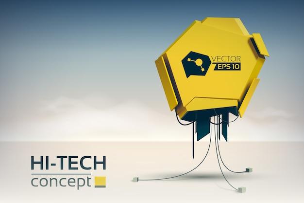 Hi-tech-designkonzept mit technologischer maschine im futuristischen stil