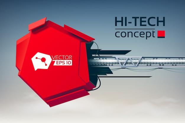 Hi-tech-konzept mit 3d-konstruktion