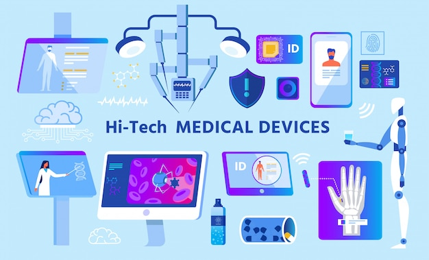 Hi-tech medical devices set auf werbeplakat