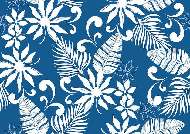 Hibiskus hawaii nahtloses muster, modehintergrund.