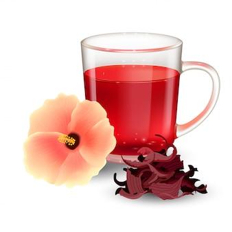 Hibiskus-tee in einem glasbecher und in der blume auf einem weißen hintergrund. trockener rosellenhüllentee. realistische illustration.