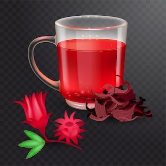 Hibiskus-tee in einem glasbecher und roselle-deckblatt auf einem transparenten hintergrund. trockener rosellenhüllentee. realistische illustration.