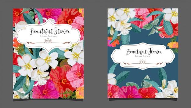 Hibiskus- und plumeriablume auf kartenillustration