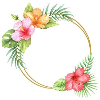 Hibiskus und tropische blätter kreisen rahmenaquarell ein