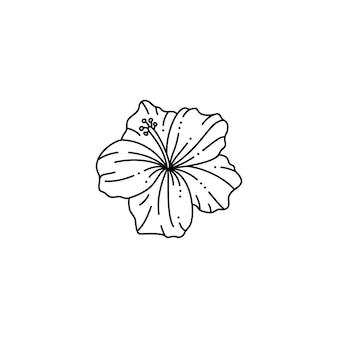 Hibiskusblüte im trendigen minimalistischen liner-stil. vektorblumenillustration zum drucken auf t-shirts, webdesign, schönheitssalons, postern, erstellen eines logos und andere