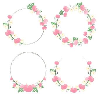 Hibiskusblüten-blumenkranz-rahmensammlung für sommer