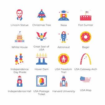 Hier ist eine packung mit flachen icons für den 4. juli, die die feier des 4. juli anhand ihrer auffälligen visuellen elemente konzipieren. schnappen sie es sich und verwenden sie es gemäß ihren projektanforderungen.