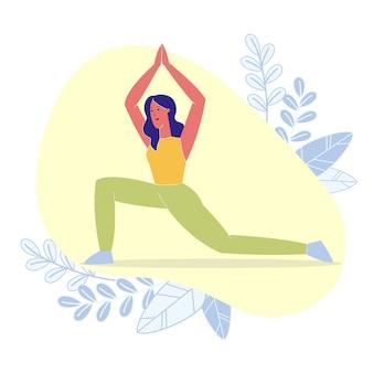 High crescent lunge pose flache vektor-illustration