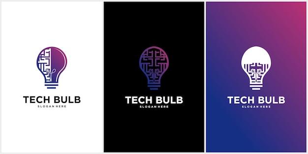 High-end-glühbirnen-logo-technologie, glühbirnen-logo-design, glühbirnen-logo-ideen-vektor-technologie-symbol