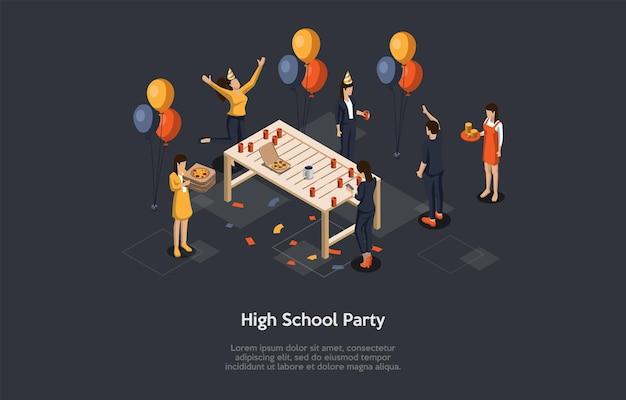 High school party konzept illustration. isometrische vektorzusammensetzung, cartoon-3d-stil. dunkler hintergrund, text. junge studenten, die spaß haben. gruppe von charakteren zusammen. feiertags-feier-atmosphäre.