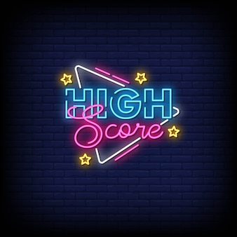 High score neon signs style text