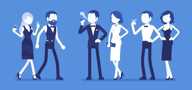 High society party. eine gruppe reicher, mächtiger und modischer menschen in abendkleidern genießt das leben auf einem elite-club für luxuspartys, wohlstand und sozialen status. illustration mit gesichtslosen zeichen