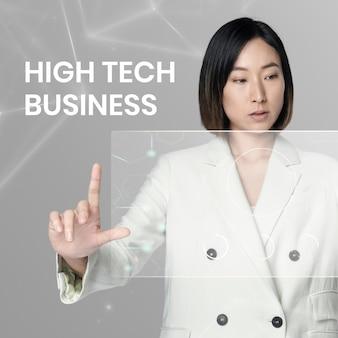 High-tech-business-vorlage mit frau mit virtuellem bildschirmhintergrund