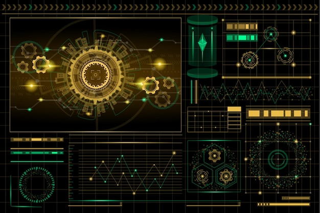 High-tech-hintergrund der abstrakten technologie Premium Vektoren