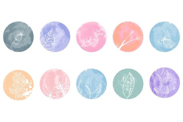 Highlight-cover-set, abstrakte florale botanische symbole für soziale medien. vektor-illustration. aquarell-design. eine reihe von instagram-story-highlights umfasst symbole. bunter aquarellhintergrund