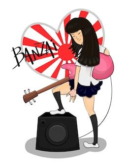 Highschool-mädchen führt mit bassgitarrenkarikatur durch