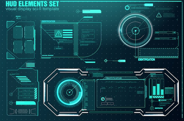 Hightech-bildschirm für videospiele. sci-fi-konzeptdesign. quadratische rahmenblöcke legen sie hud-schnittstellenelemente fest.