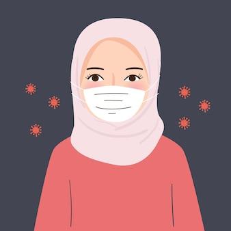 Hijab frau tragen maske während des pandemischen koronavirus