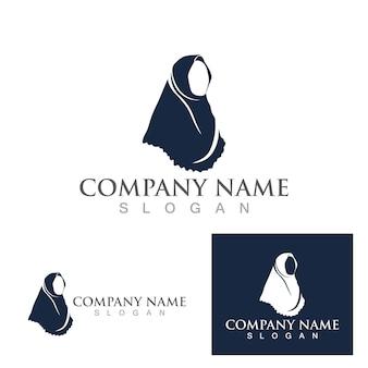 Hijab-frauen muslimische logo-vektor-vorlage