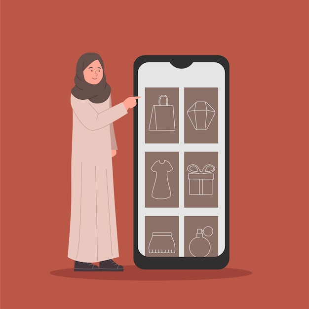 Hijab junge frau, die mit gadget in der marktplatz-app einkauft