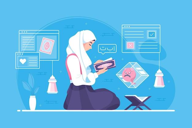 Hijab-mädchen, das im monat ramadan den koran liest